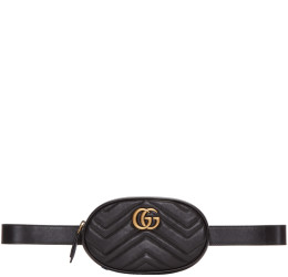 Gucci - Black Quilted GG Marmont Belt Bag