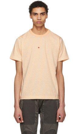 Stone Island - Pink & White Stripe Back Logo T-Shirt