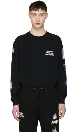 Alexander Wang - SSENSE Exclusive Black Long Sleeve Sponsored High Twist T-Shirt