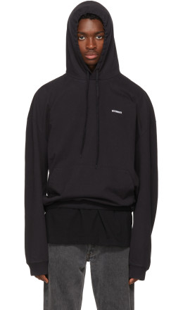 Vetements - Black Embroidered Logo Hoodie