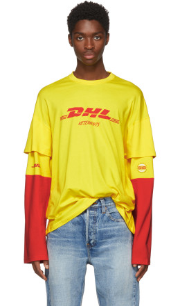 Vetements - Yellow & Red Long Sleeve 'DHL' T-Shirt
