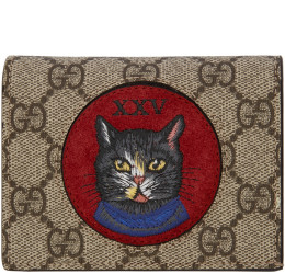 Gucci - Brown GG Supreme Small Oblo Cat Wallet