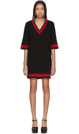 Gucci - Black Jersey V-Neck Dress