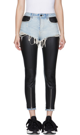 Alexander Wang - Black & Blue Leather Hybridmoto Pants