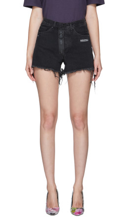 Off-White - Black Denim Shorts