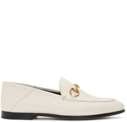 Gucci - White Brixton Crushback Loafers