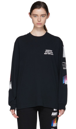 Alexander Wang - SSENSE Exclusive Black Long Sleeve Sponsored High Twist T-Shirt