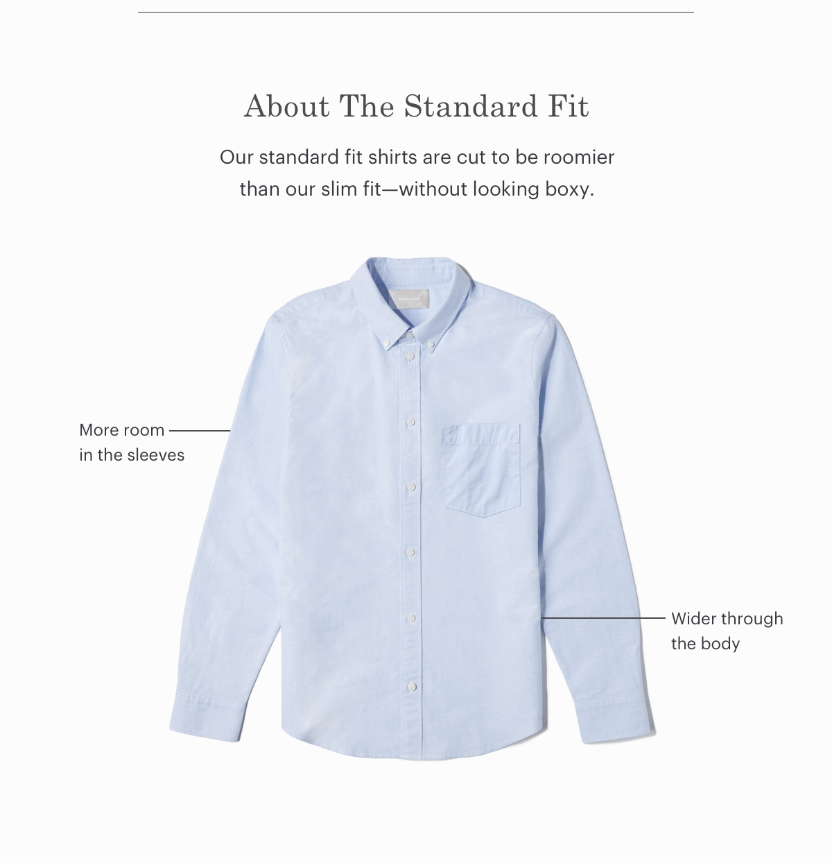 Our standard fit shirts are cut to be roomier than our slim fit-without looking boxy.