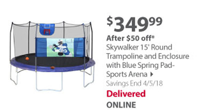 15 Ft Round Trampoline and Enclosure w/ Blue Spring Pad- Sports Arena - Professional Series