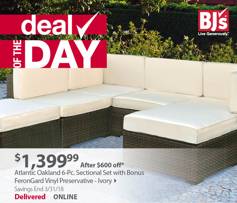 Deal Of The Day: Atlantic Oakland 6 Pc. Sectional Set With Bonus FeronGard