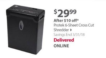 Protek 6-Sheet Cross Cut Shredder