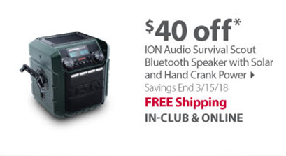 ION Audio Survival Scout Bluetooth Speaker with Solar and Hand Crank Power