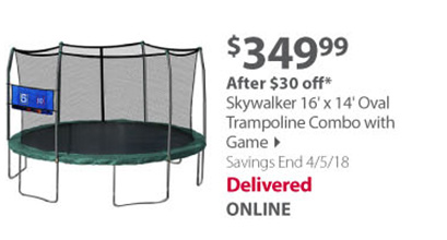 16' x 14' Oval Trampoline Combo with Game