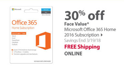 Face Value on Microsoft Office 365 Home 2016 Subscription