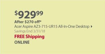 Acer Aspire AZ3-715-UR15 All-In-One Desktop