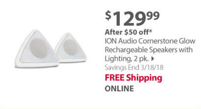 ION Audio Cornerstone Glow Rechargeable Speaker with Lighting, 2 pk.