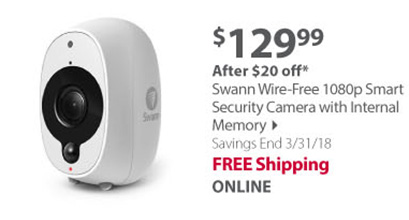 Swann Wire-Free 1080p Smart Security Camera with Internal Memory