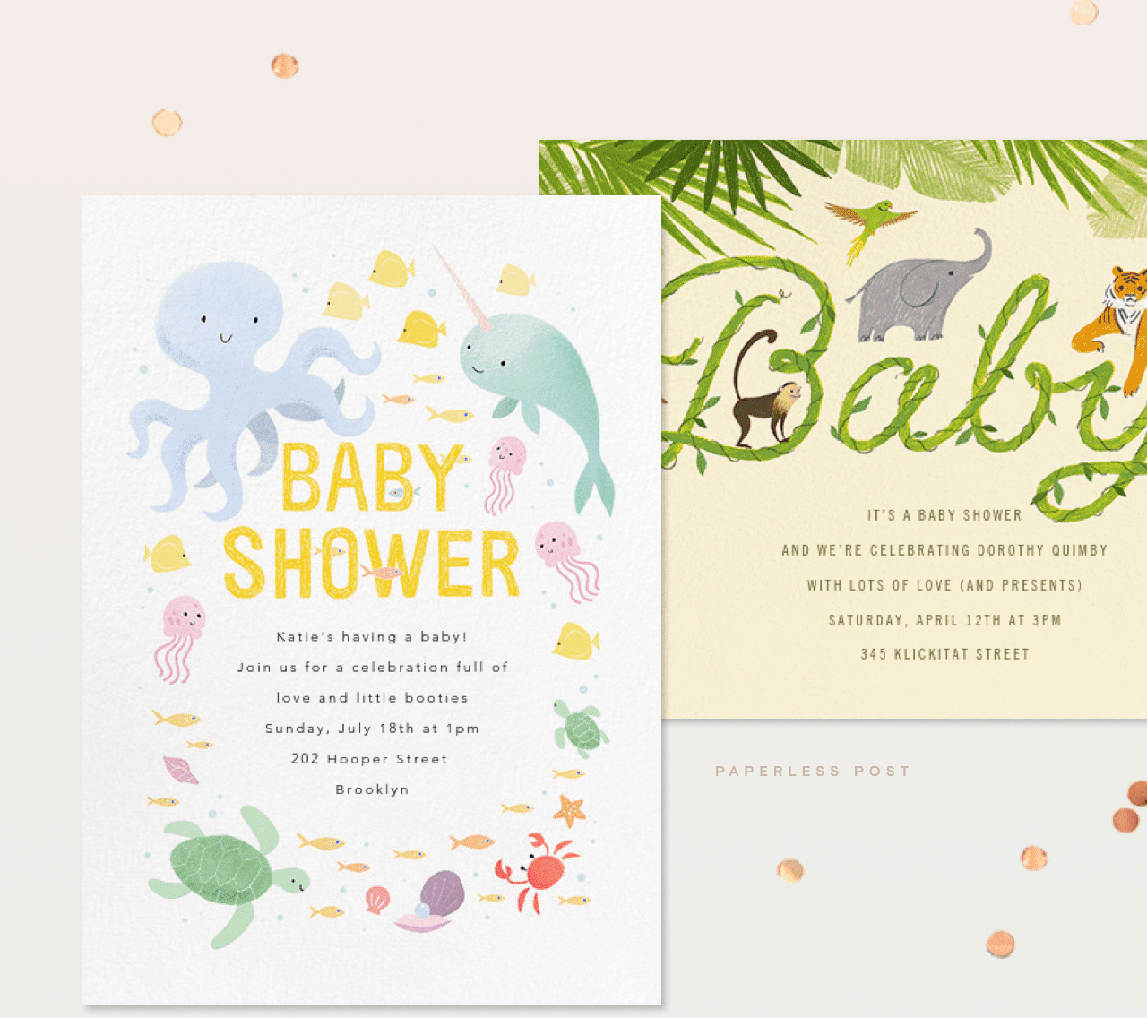 Paperless Post Here Comes Our Baby Shower Milled