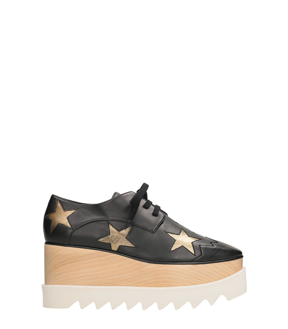 Stella McCartney Elyse Star Black Faux Leather Sneakres