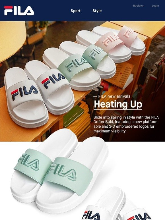 58077256ec18 FILA  Not your average slides. Introducing the women s FILA Drifter ...