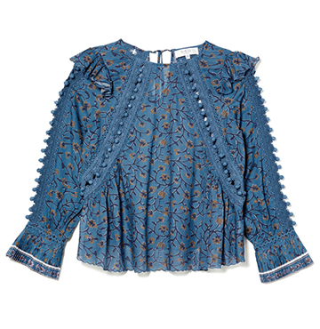Sea Esther Printed Long Sleeve Crochet Pom Pom Blouse $365