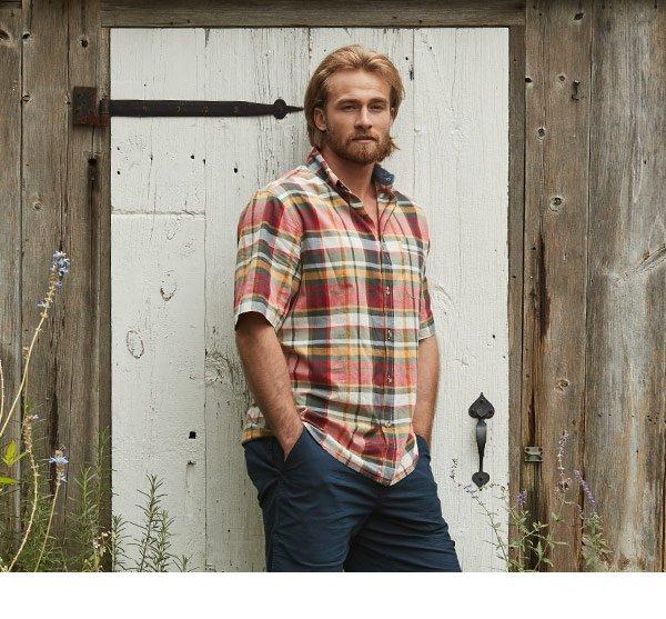 d49f3ccf8370c9 Men's Timberline Short Sleeve Madras Plaid Shirt - 100% Organic Cotton: