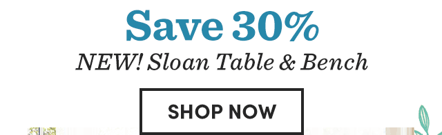 Save 30% NEW! Sloan Table & Bench