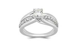 7/8 CTTW Diamond Engagement Ring in White Gold by Brilliant Diamond