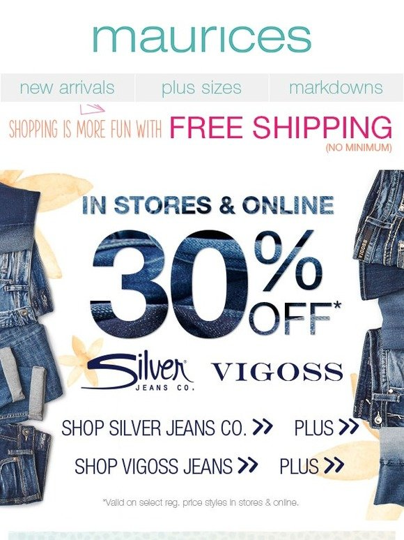6254085a76b maurices.com  3 DAYS ONLY! 30% off Silver Jeans Co.   Vigoss jeans ...