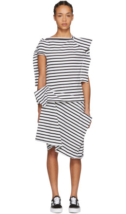 Junya Watanabe - White & Black Skewed Striped T-Shirt Dress