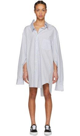Junya Watanabe - White & Blue Oversized Shirt Dress