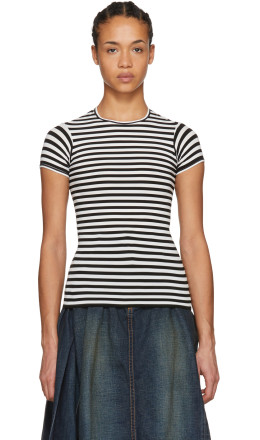 Junya Watanabe - White & Black Shrunken Stripe T-Shirt