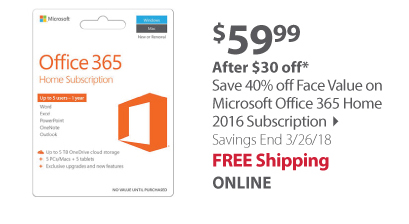Save 40% off Face Value on Microsoft Office 365 Home 2016 Subscription