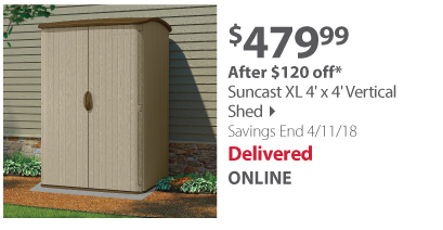 Suncast XL 4' x 4' Vertical Shed