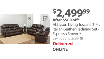 Abbyson Living Toscana 3-Pc. Italian Leather Reclining Set - Espresso Brown