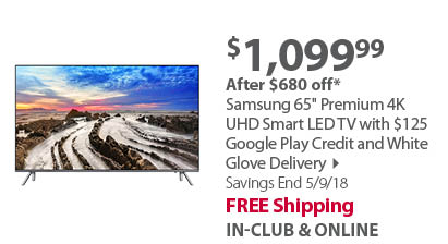 Samsung UN65MU800D 65 4K Smart TV with White Glove Delivery & Bonus $125 Google Play Card