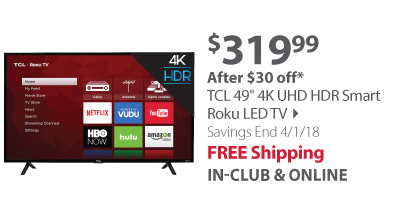 TCL 49S403 49 4K UHD HDR Smart Roku LED TV