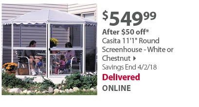 Casita 11'1 Round Screenhouse - White or Chestnut