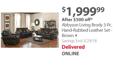 Abbyson Living Brody 3-Pc. Hand-Rubbed Leather Set - Brown