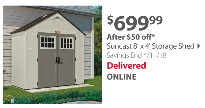 Suncast 8' x 4' Storage Shed