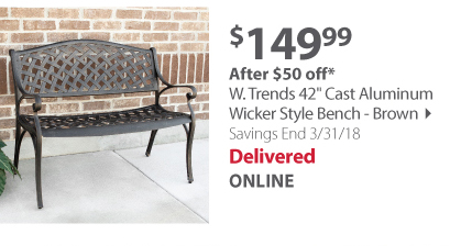 W. Trends 42 Cast Aluminum Wicker Style Bench - Brown