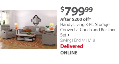 Handy Living 3-Pc. Storage Convert-a-Couch and Recliner Set