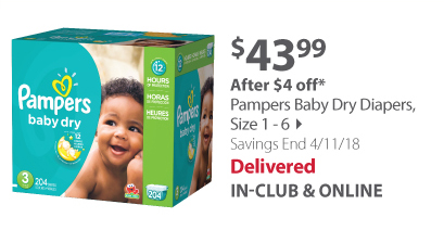 Pamper's Baby Dry Diapers, size 1 - 6