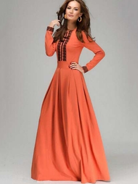 62c40b373da Ericdress Lace Patchwork Pleated Long Sleeve Maxi Dress