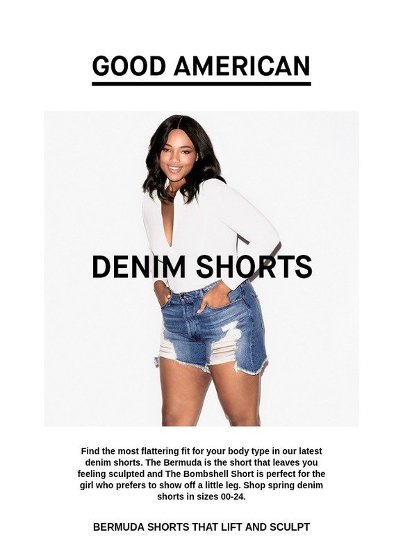 74e2473f40 GOOD AMERICAN: Figure Shaping Denim Shorts | Milled