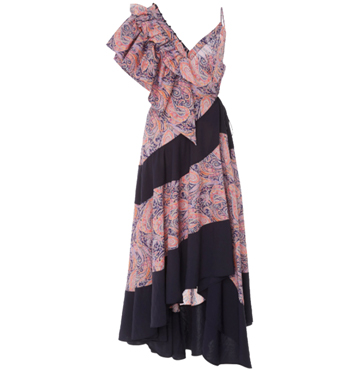 Paisley-Print Ruffle Dress, Loewe