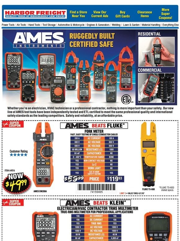 Harbor Freight: NEW Notice: AMES INSTRUMENTS • Ruggedly Built