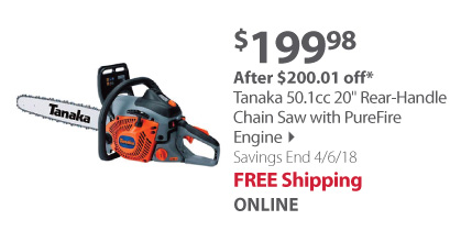 Tanaka 50.1CC 20-Inch Rear Handle Chain Saw with PureFire Engine
