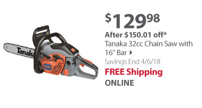 Tanaka 32cc Chain Saw with 16 Bar