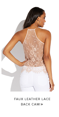 FAUX LEATHER LACE BACK CAMI